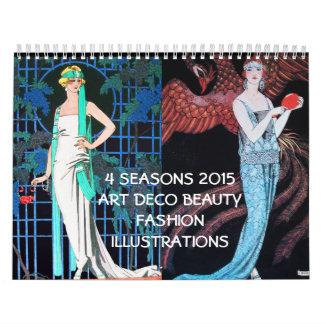4 SEASONS 2015 ARTDECO BEAUTY FASHION ILLUSTRATION WALL CALENDARS