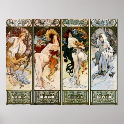 4 Seasons Alphonse Mucha Print posters