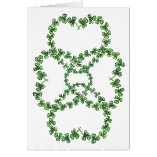 4 Shamrock Hearts-Wishing Luck Card