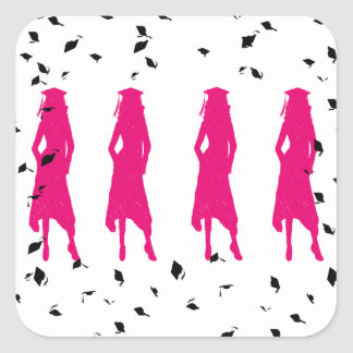 4 siluetas del chica de la graduación de las rosas calcomanía cuadrada