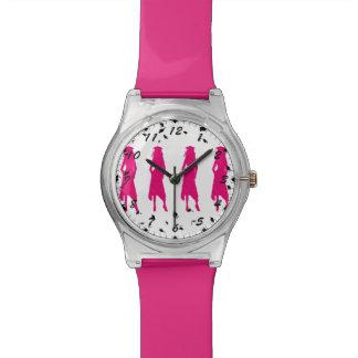 4 siluetas del chica de la graduación de las rosas relojes de pulsera