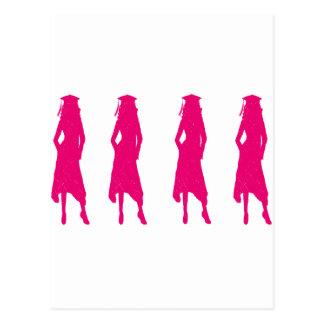 4 siluetas del chica de la graduación de las rosas postales