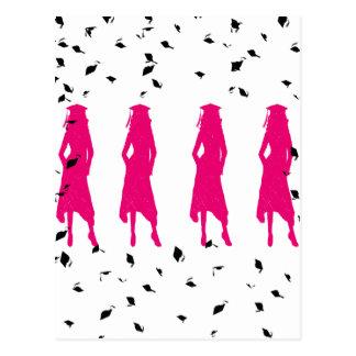 4 siluetas del chica de la graduación de las rosas postal