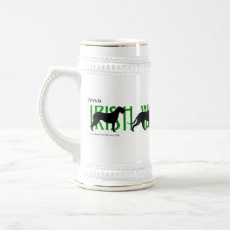 4 siluetas del Wolfhound irlandés Jarra De Cerveza