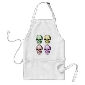4 Skulls Face Colors Adult Apron