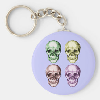 4 Skulls Face Colors Basic Round Button Keychain