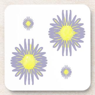4 Soft blue & yellow flowers on white background Beverage Coaster