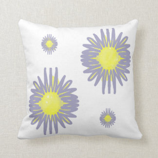 4 Soft blue & yellow flowers on white background c Pillow