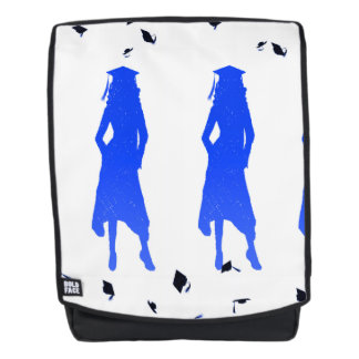 4 Spunky Female Grad Silhouttes in Bright Blue Backpack
