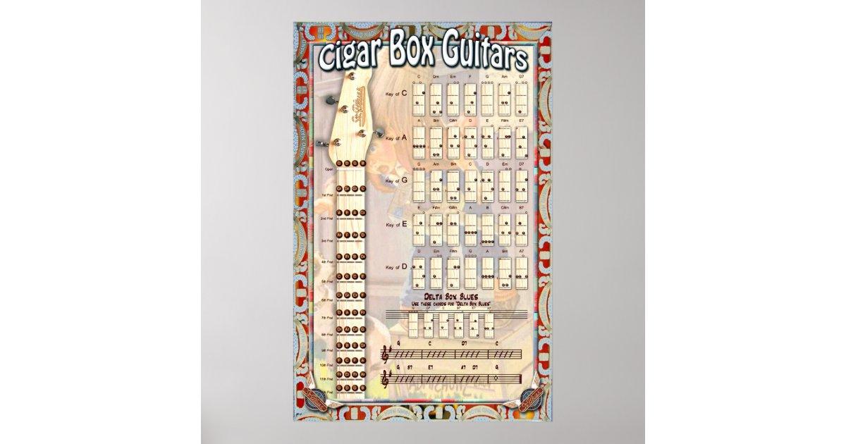 4 String Cigar Box Guitar Chord Chart Zazzle