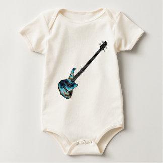4 String Fretless Bass Guitar-blue Baby Bodysuit