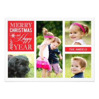 4 tarjeta de la foto del día de fiesta de la foto anuncio