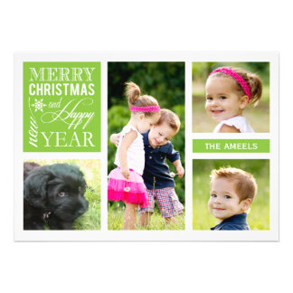 4 tarjeta de la foto del día de fiesta de la foto comunicados personales