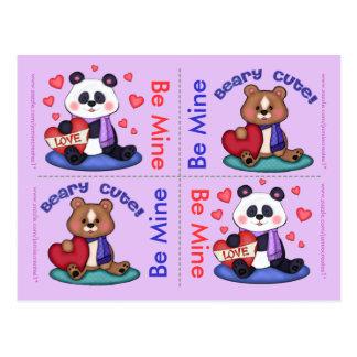 4 tarjetas planas de peluche de la tarjeta del día postales