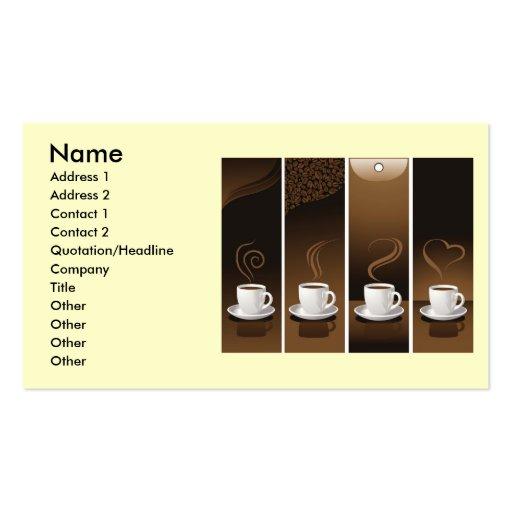 4 tazas de café en el vector, nombre, dirección 1, plantilla de tarjeta de visita