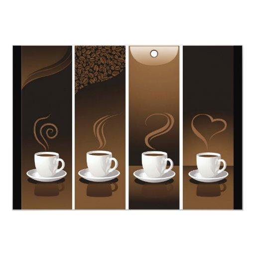 """4 tazas de café en vector invitación 5"""" x 7"""""""
