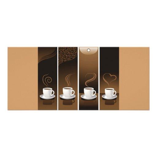 4 tazas de café en vector tarjeta publicitaria