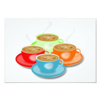"""4 tazas de invitaciones del café invitación 3.5"""" x 5"""""""