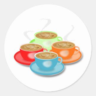 4 tazas de pegatinas del café etiquetas redondas