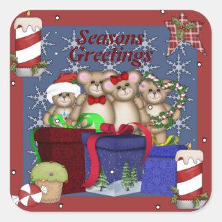 4 Teddies Christmas Love Square Sticker