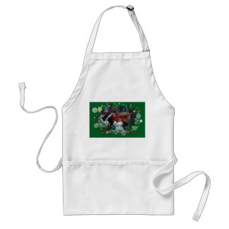 4 toy tractors at christmas adult apron