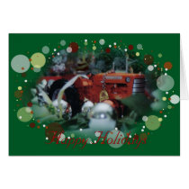 4 toy tractors at christmas card