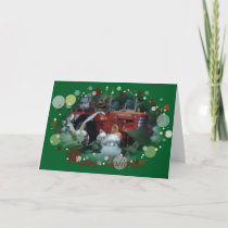 4 toy tractors at christmas holiday card