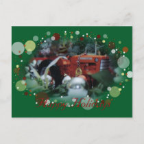 4 toy tractors at christmas holiday postcard