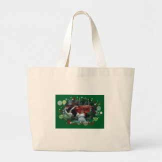 4 toy tractors at christmas large tote bag