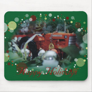 4 toy tractors at christmas mouse pad