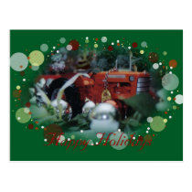 4 toy tractors at christmas postcard
