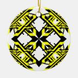 4 transparentes alternos amarillos adorno de navidad