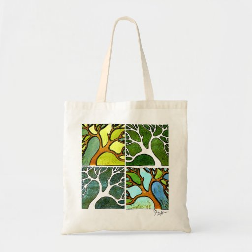 4 Trees in Watercolor and Pen & Ink Budget Tote Bag