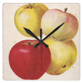 4 vintage apples illustrated clock