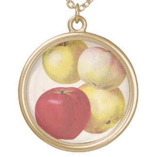 4 vintage apples illustrated pendant