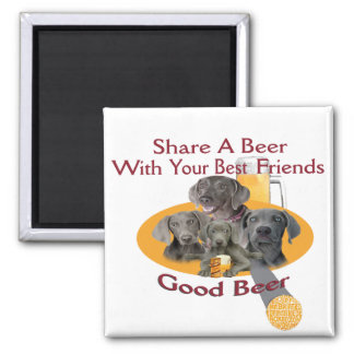 4 Weimaraners Share A Beer Gifts Magnet