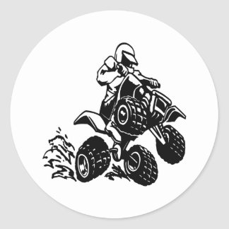 4 Wheel Quad Racing Classic Round Sticker