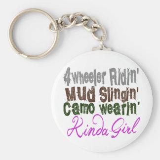 4 wheeler ridin mud slingin camo wearin kinda girl basic round button keychain