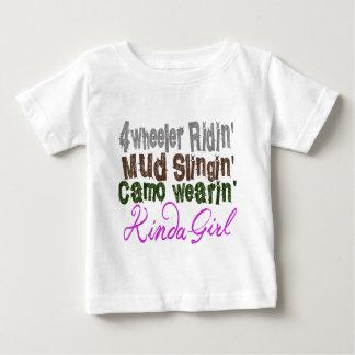4 wheeler ridin mud slingin camo wearin kinda girl infant t-shirt