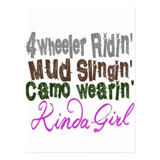 4 wheeler ridin mud slingin camo wearin kinda girl postcard