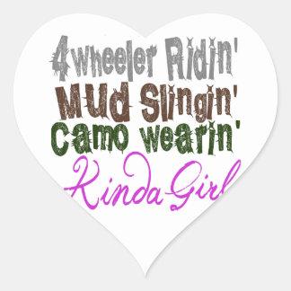 4 wheeler ridin mud slingin camo wearin kinda girl heart sticker