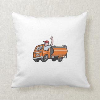 4 Wheeler Tanker Truck Driver Waving Cartoon Throw Pillow