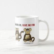 4 Wise Monkeys Humor Coffee Mug