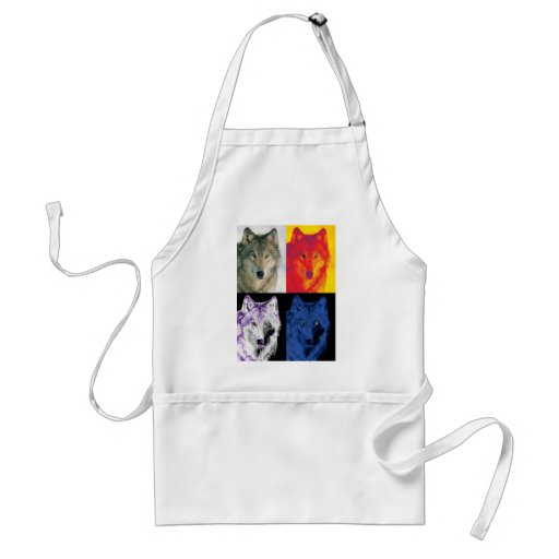 4 Wolf Faces Adult Apron