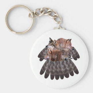4 Wolves Dreamcatcher Basic Round Button Keychain