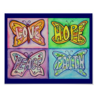 4 Words Butterfly Wings Inspirational Art Painting Poster