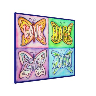 4 Words Butterfly Wings Wrapped Canvas Painting