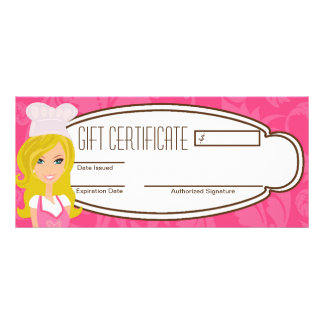 "4""x9"" Gift Certificate Blonde Baker Pink Cup Cakes Customized Rack Card"