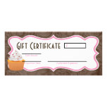 """4""""x9"""" Gift Certificate Cup Cakes Bakery Sweet Trea Rack Card Template"""