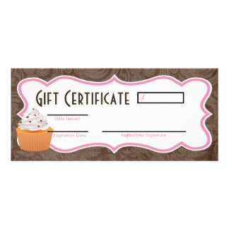 "4""x9"" Gift Certificate Cup Cakes Bakery Sweet Trea Personalized Rack Card"
